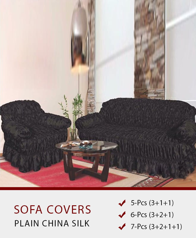 SC-112 Black Sofa Covers – Plain Silk Fabric - PerfectHome