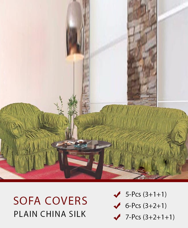 SC-122 Pistachio Green Sofa Covers – Plain Silk Fabric