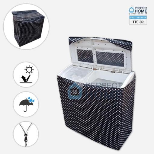 TTC-09 Twin Tub Washing Machine cover waterproof black polka dots open